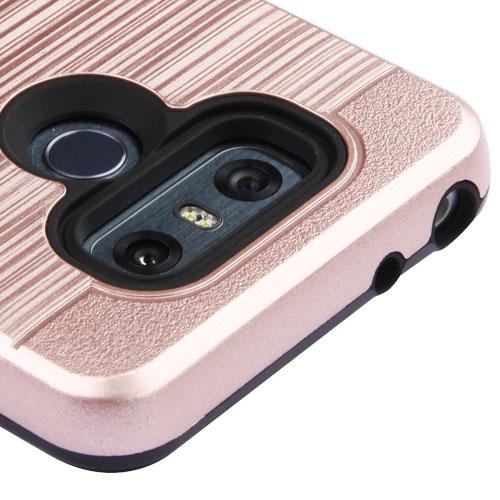 LG G6 ID Case, Slim Brushed Metal Hybrid Hard Case on TPU w/ Card Slot [Rose Gold] with Travel Wallet Phone Stand