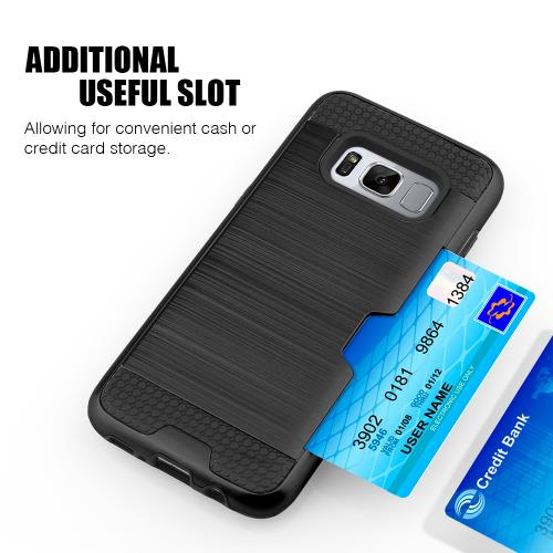 Samsung Galaxy S8 Slim Case, Slim Brushed Metal Hybrid Hard Case on TPU w/ Card Slot [Black] with Travel Wallet Phone Stand