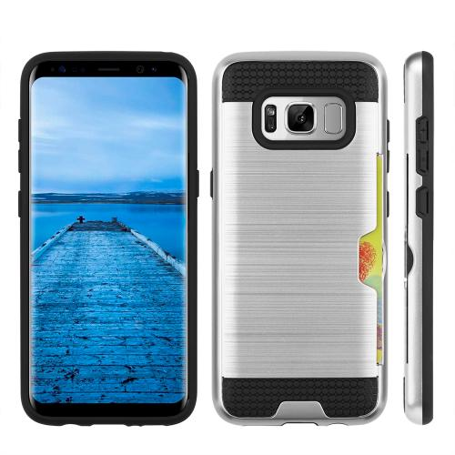Samsung Galaxy S8 Slim Case, Slim Brushed Metal Hybrid Hard Case on TPU w/ Card Slot [Silver/ Black] with Travel Wallet Phone Stand