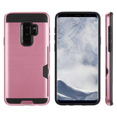 [Samsung Galaxy S9 PLUS] Slim Case, Slim Brushed Metal Hybrid Hard Case on TPU w/ Card Slot [Rose Gold/ Black] with Travel Wallet Phone Stand