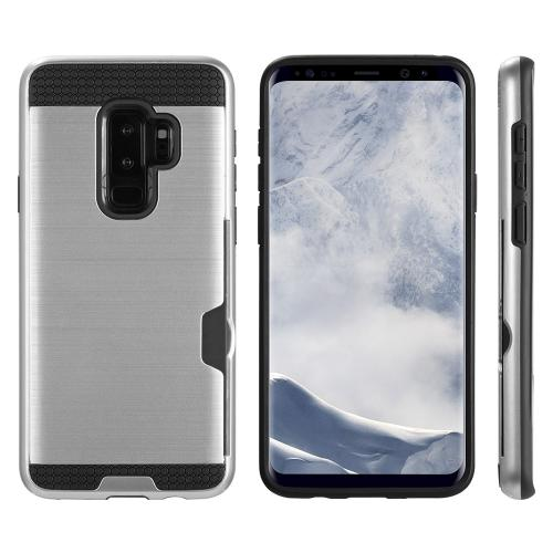 [Samsung Galaxy S9 PLUS] Slim Case, Slim Brushed Metal Hybrid Hard Case on TPU w/ Card Slot [Silver/ Black] with Travel Wallet Phone Stand