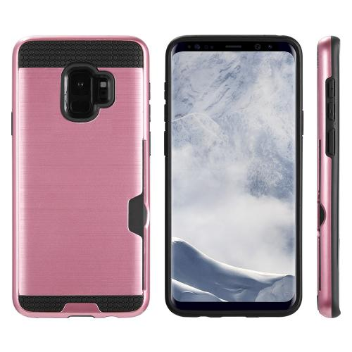 [Samsung Galaxy S9] Slim Case, Slim Brushed Metal Hybrid Hard Case on TPU w/ Card Slot [Rose Gold/ Black] with Travel Wallet Phone Stand