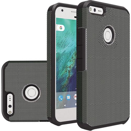Google Pixel Case, Rubberized Slim Dual layer Hybrid Hard Case on TPU Case [Carbon Fiber Design] with Travel Wallet Phone Stand