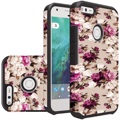 Google Pixel Case, Rubberized Slim Dual layer Hybrid Hard Case on TPU Case [Pink White Roses Floral] with Travel Wallet Phone Stand
