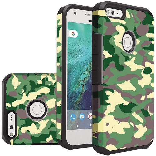 Google Pixel XL Case, Rubberized Slim Dual layer Hybrid Hard Case on TPU Case [Camouflage Green] with Travel Wallet Phone Stand