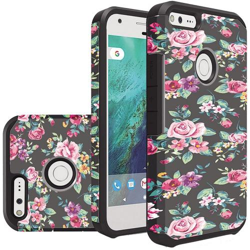 Google Pixel XL Case, Rubberized Slim Dual layer Hybrid Hard Case on TPU Case [Tropical Romantic Colorful Roses] with Travel Wallet Phone Stand
