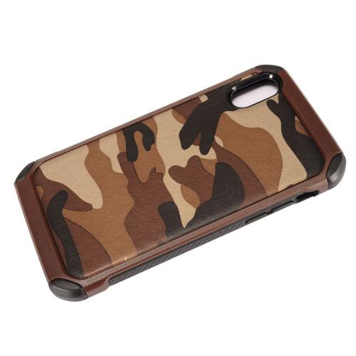 Made for [Apple iPhone X / XS 2018] Shockproof Case, [Brown Camouflage] Rubberized Slim Dual layer Hybrid Hard Case on TPU Case by Redshield