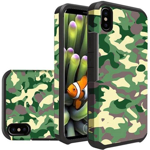 Made for [Apple iPhone X / XS 2018] Shockproof Case, Rubberized Slim Dual layer Hybrid Hard Case on TPU [Camouflage Green] by Redshield