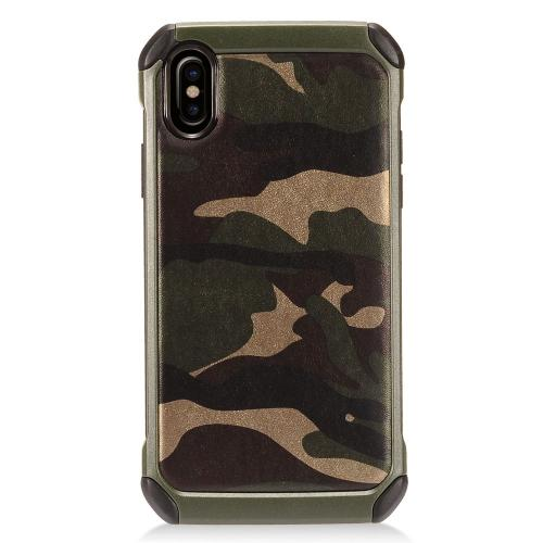 [REDshield] Apple iPhone X Shockproof Case, [Green Camouflage] Rubberized Slim Dual layer Hybrid Hard Case on TPU Case