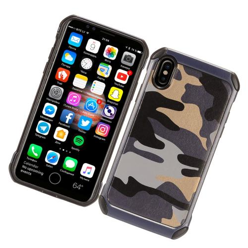 Made for [Apple iPhone X / XS 2018] Shockproof Case, [Gray Camouflage] Rubberized Slim Dual layer Hybrid Hard Case on TPU Case by Redshield