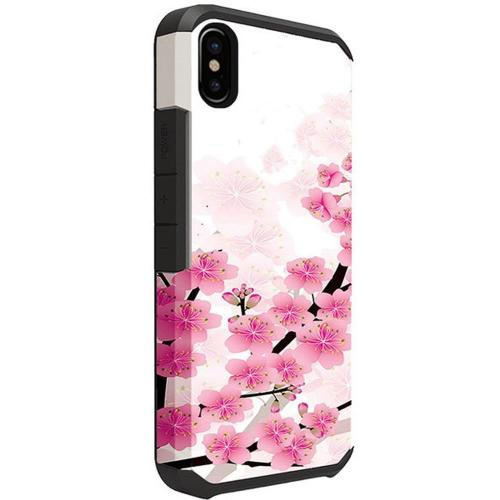 Apple iPhone X Shockproof Case, Rubberized Slim Dual layer Hybrid Hard Case on TPU [Sakura Cherry Blossom]