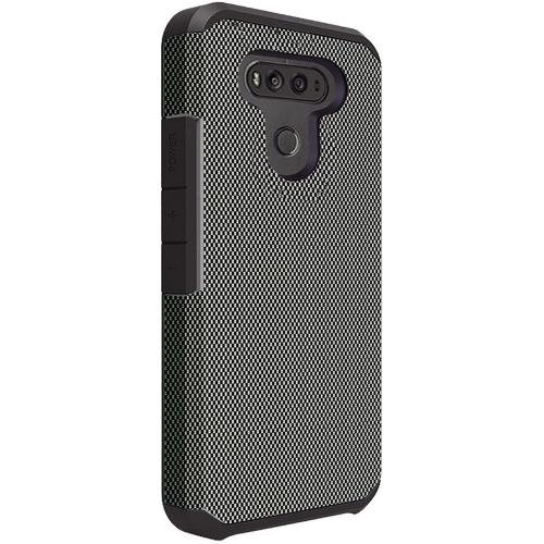 LG G6 Shockproof Case, Rubberized Slim Dual layer Hybrid Hard Case on TPU Case [Carbon Fiber Design] with Travel Wallet Phone Stand