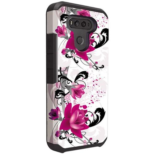LG G6 Shockproof Case, Rubberized Slim Dual layer Hybrid Hard Case on TPU Case [Purple Lily] with Travel Wallet Phone Stand