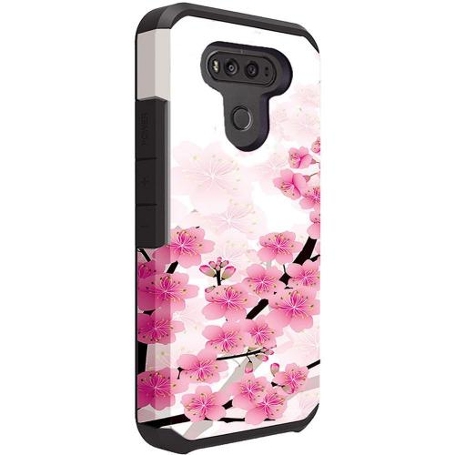 LG G6 Shockproof Case, Rubberized Slim Dual layer Hybrid Hard Case on TPU Case [Sakura Cherry Blossom] with Travel Wallet Phone Stand