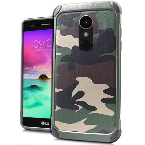 LG Stylo 3/ 3 Plus Case, Rubberized Slim Dual layer Hybrid Hard Case on TPU Case [Green Camo] with Travel Wallet Phone Stand