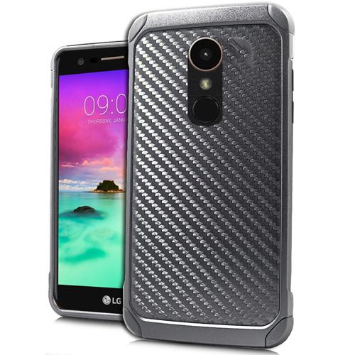 LG Stylo 3/ 3 Plus Case, Rubberized Slim Dual layer Hybrid Hard Case on TPU Case [Carbon Fiber Design] with Travel Wallet Phone Stand