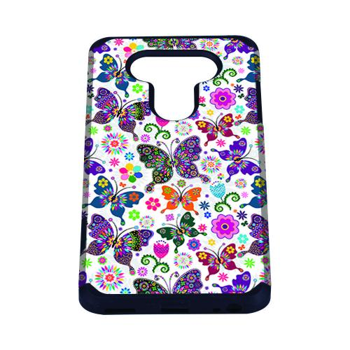 LG V20 Case, Rubberized Slim Dual layer Hybrid Hard Case on TPU Case [Colorful Butterfly Flower Polka Dot Floral]