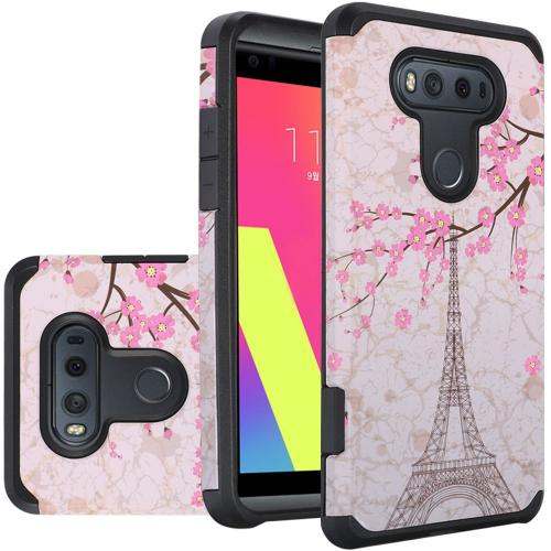 LG V20 Case, Rubberized Slim Dual layer Hybrid Hard Case on TPU Case [White Vintage Eiffel Tower Paris]