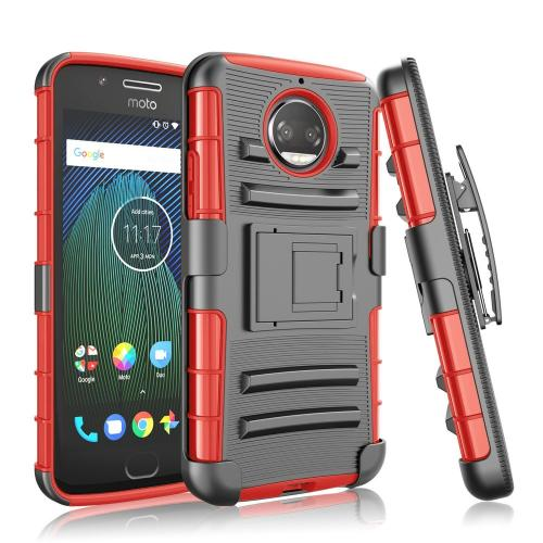 Motorola Moto G5S Plus (Will NOT fit Moto G5 Plus) Holster Case, [Black] Dual Layer Hard Case w/ Kickstand on [Red] Silicone Skin Case w/ Holster