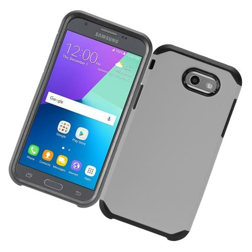 Samsung Galaxy J3 Emerge Case, Rubberized Hybrid Hard Case on TPU [Gray/ Black] with Travel Wallet Phone Stand