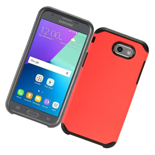 Samsung Galaxy J3 Emerge Case, Rubberized Hybrid Hard Case on TPU [Red/ Black] with Travel Wallet Phone Stand
