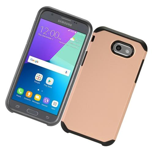 Samsung Galaxy J3 Emerge Case, Rubberized Hybrid Hard Case on TPU [Rose Gold/ Black] with Travel Wallet Phone Stand
