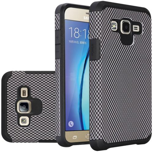 Samsung Galaxy On5 Case, Rubberized Slim Dual layer Hybrid Hard Case on TPU Case [Carbon Fiber Design]