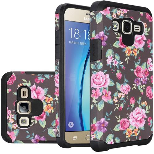 Samsung Galaxy On5 Case, Rubberized Slim Dual layer Hybrid Hard Case on TPU Case [Tropical Romantic Colorful Roses]