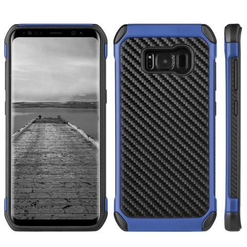 Samsung Galaxy S8 Hybrid Case, Tough Hybrid Case [Black TPU] + [Blue] Hard Cover W/ Carbon Fiber Design with Travel Wallet Phone Stand