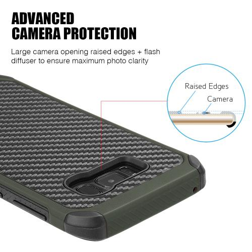 Samsung Galaxy S8 Hybrid Case, Tough Hybrid Case [Black TPU] + [Army Green] Hard Cover W/ Carbon Fiber Design with Travel Wallet Phone Stand