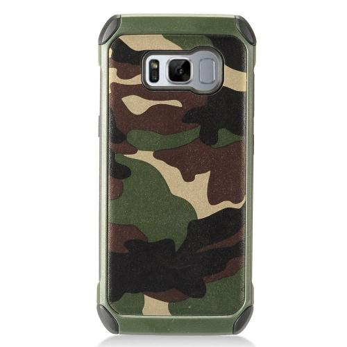Samsung Galaxy S8 Shockproof Case, Rubberized Slim Dual layer Hybrid Hard Case on TPU Case [Green Camouflage] with Travel Wallet Phone Stand