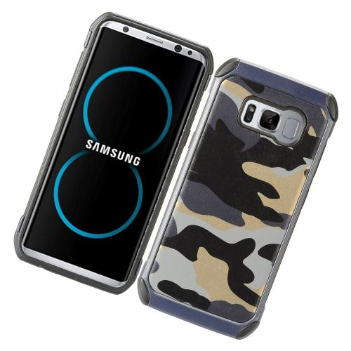 Samsung Galaxy S8 Shockproof Case, Rubberized Slim Dual layer Hybrid Hard Case on TPU Case [Gray Camouflage] with Travel Wallet Phone Stand