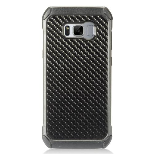 Samsung Galaxy S8 Plus Shockproof Case, Rubberized Slim Dual layer Hybrid Hard Case on TPU Case [Carbon Fiber Design] with Travel Wallet Phone Stand