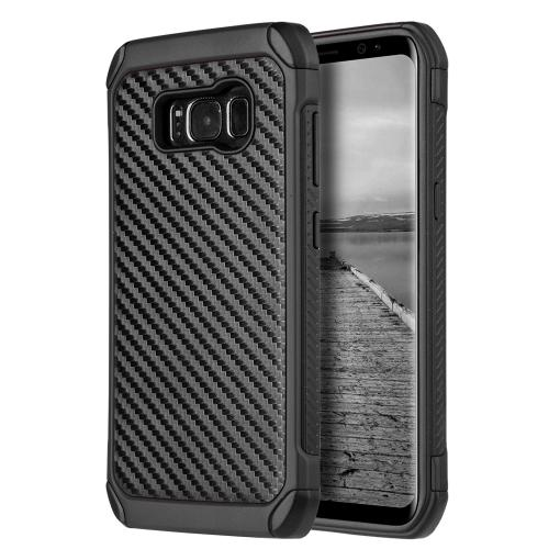 Samsung Galaxy S8 Plus Hybrid Case, Tough Hybrid Case [Black TPU] + [Black] Hard Cover W/ Carbon Fiber Design with Travel Wallet Phone Stand