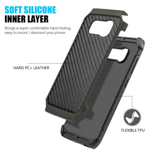 Samsung Galaxy S8 Plus Hybrid Case, Tough Hybrid Case [Black TPU] + [Army Green] Hard Cover W/ Carbon Fiber Design with Travel Wallet Phone Stand
