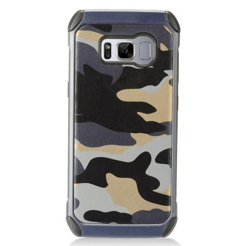 Samsung Galaxy S8 Plus Shockproof Case, Rubberized  Slim Dual layer Hybrid Hard Case on TPU Case [Gray Camouflage] with Travel Wallet Phone Stand