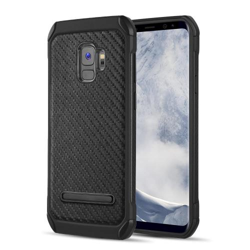 [Samsung Galaxy S9] Hybrid Case, Tough Hybrid Case [Black TPU] Hard Cover W/ Carbon Fiber Design with Travel Wallet Phone Stand