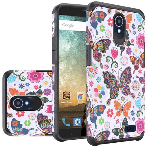 ZTE Avid Trio Case, Rubberized Slim Dual layer Hybrid Hard Case on TPU Case [Colorful Butterfly Flower Polka Dot Floral] with Travel Wallet Phone Stand
