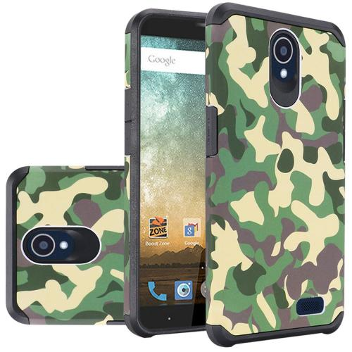 ZTE Avid Trio Case, Rubberized Slim Dual layer Hybrid Hard Case on TPU Case [Camouflage Green] with Travel Wallet Phone Stand
