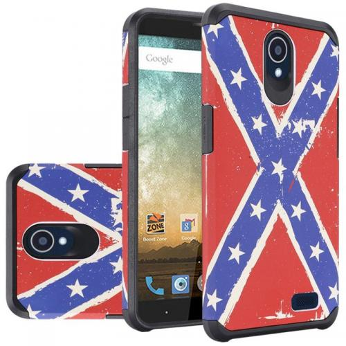 ZTE Avid Trio Case, Rubberized Slim Dual layer Hybrid Hard Case on TPU Case [USA Flag] with Travel Wallet Phone Stand