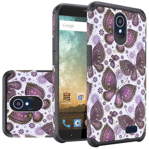 ZTE Avid Trio Case, Rubberized Slim Dual layer Hybrid Hard Case on TPU Case [Violet Butterfly Flower Polka Dots Mandala] with Travel Wallet Phone Stand