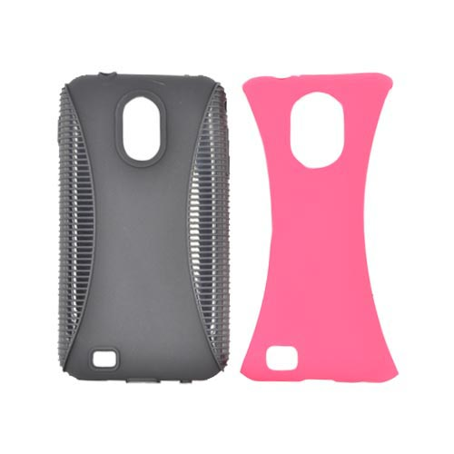 Samsung Epic 4G Touch Hard Back Over Crystal Silicone Case - Hot Pink/ Black