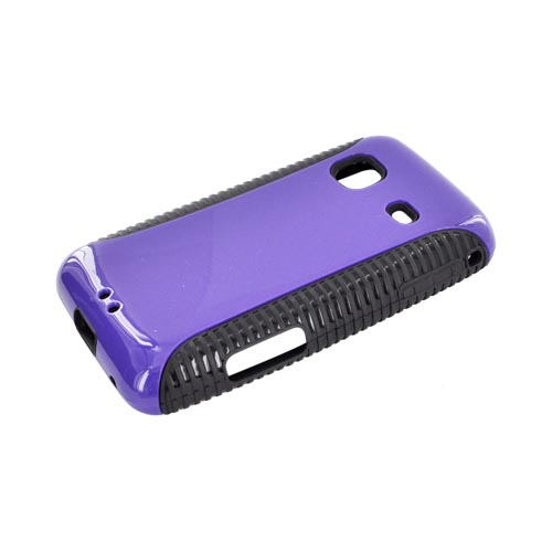 Samsung Galaxy Prevail M820 Hard Back Over Crystal Silicone Case - Purple/ Black
