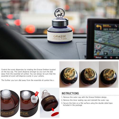 Premium Car Air Freshener, [Santorini Breeze] Bullsone Grasse L'esterel - Natural Essential French Oil Scents!