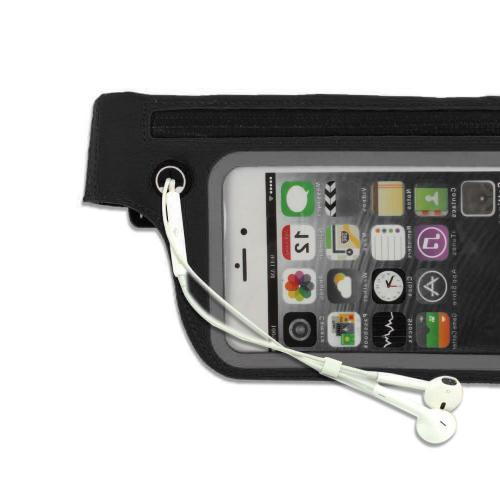 Exercise Fanny Pack, [Black] Sports Activity Waist Pack Pocket Belt w/ Clear Touch Window for Access to Your Device!