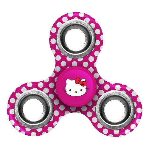 [Fidget Spinner] Sanrio [Hello Kitty Hot Pink Polka Dots] Three Way Fidget Toy Spinner Toy - Perfect For Boredom, ADD, ADHD, Anxiety