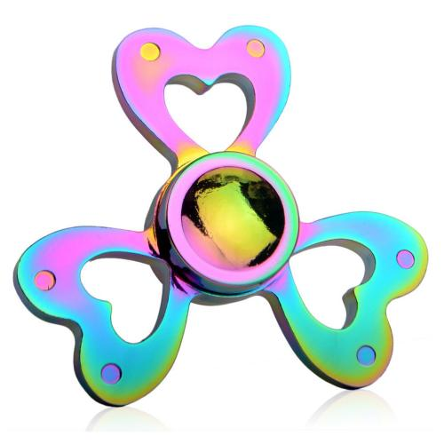 [Fidget Spinner] REDSHIELD Table Top & Hand Spinning - [Rainbow Metal Open Heart] - Finger Toy, Perfect For Boredom, ADD, ADHD, Anxiety