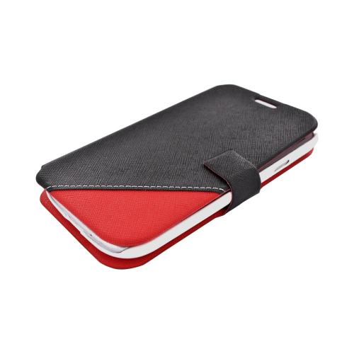 Geeks Protection Line (GPL) Swanky Samsung Galaxy S3 Diary Flip Cover Hard Case Stand w/ ID Slots - Black/ Red
