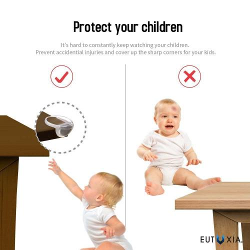 Eutuxia Clear Corner Protector Guards for Babies, Kids, and Children. Safety Bumpers Prevent Injuries from Sharp Edges. For Tables, Furniture, and Cabinets. Easy Installation with 3M Adhesive. [12 PK]