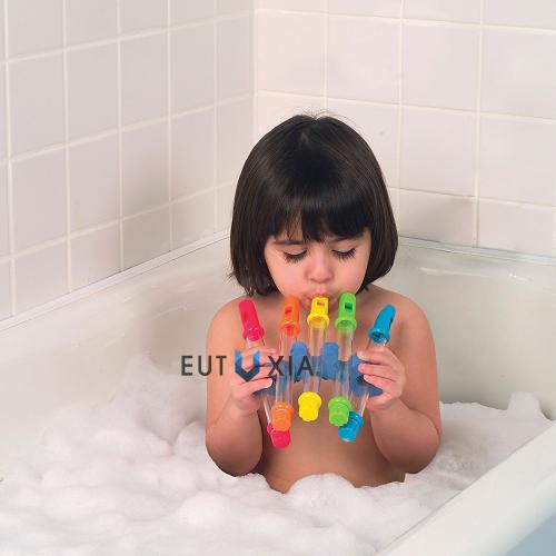 Eutuxia Water Flutes with Waterproof Music Sheets & Holder. Fun Musical Instrument Bath Toy for Babies, Kids & Children. Play Tunes in Bathtub & Swimming Pool. Adjustable Sound with Different Levels.
